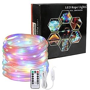 Afufu LED Luz Guirnalda Exterior USB 20M con 200leds, Mangueras Luces Led RGB, Cadena de Luces LED Colores, Temporizador, Resistente al agua, para jardín, casa, terraza, navidad etc