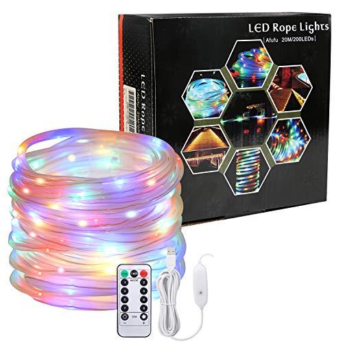 Afufu 20m LED Lichterschlauch 200 USB Lichtschlauch Bunt-IP65 Wasserdicht Mehrfarbig Dekolicht-Lichterkette Innen und Außen-3M Stromkabel-8 Modi Fernbedienbar für Weihnachten Hochzeit Weihnachtsdeko