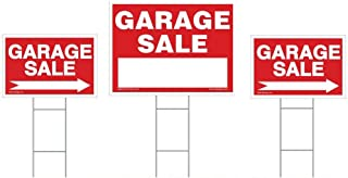 3-Pack Garage Sale Sign Kit - Double Sided Signs & H-Stakes - Red Property Signs 18
