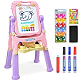 Amagoing Easel for Kids, 4 in 1 Standing Toddler Art Easel Double Sided Quick Flip & Height Adjustable Children Drawing Board with Paper Clips