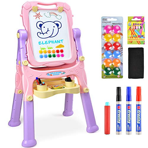 Amagoing Easel for Kids, Large Size 4 in 1 Standing Toddler Art Easel Double Sided Quick Flip & Height Adjustable Children Drawing Board with Paper Clips