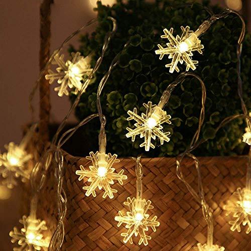 Gxhong Schneeflocke Lichterketten, Led lichterkette Weihnachten Lichterketten 6 M/ 40 Led Girlande Lichterkette, Schneeflocke Lichterketten für Halloween Thanksgiving Weihnachten Dekoration