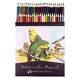 Lápices Acuarelables, 48 Lápices de Colores Profesionales (Numerado), Lápices de Colorear para Adultos y niños, para Colorear, Mezclar, Aplicar capas y técnicas de Acuarela