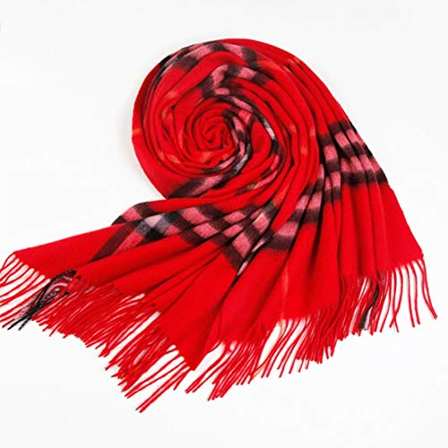 OHMTJP Sjaal vrouwelijke winter warme sjaal sjaal wol vrouwelijke dual-use plaid paar Ultra Soft Touch Wrap Neck Sjaal Winter Tartan Lange Sjaal sjaal groot rood