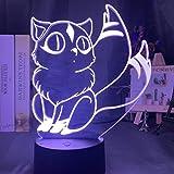Lámpara De Ilusión 3D Luz De Noche Led Decor Inuyasha Kirara Figura Para Decoración De La...