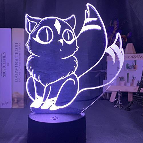 3D Illusionslampe Led Nachtlicht Dekor Inuyasha Kirara Figur Für Raumdekor Led Farbwechsel Anime Geschenk Für Kind Am Bett