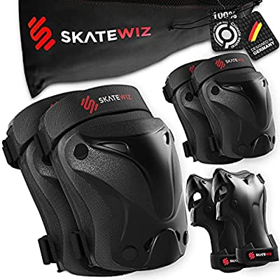 SKATEWIZ Elbow and Knee Pads Adult Protect-1 - Elbow Pads Wrist Guards Rollerblade for Kids [6pcs] - Inline Skating Protective Gear Set with Carry Bag