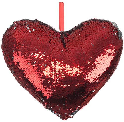 Brandsseller Cojín decorativo con forma de corazón con lentejuelas que cambian de color, 42 x 42 x 13 cm, plateado/rojo