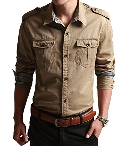 CHARTOU Men's Classic Retro Military Camouflage Lined Patchwork Shirt (Medium, Khaki)