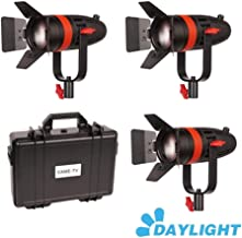 CAME-TV Boltzen 3-Pack F-55W COB Fresnel Focusable Led Video Light, High Output 55W Daylight 5600K CRI96+ TLCI97+Dimmable 0%-100% Dual Power Supply W/Filter Set, Removable Barn-Door, Carry Bag