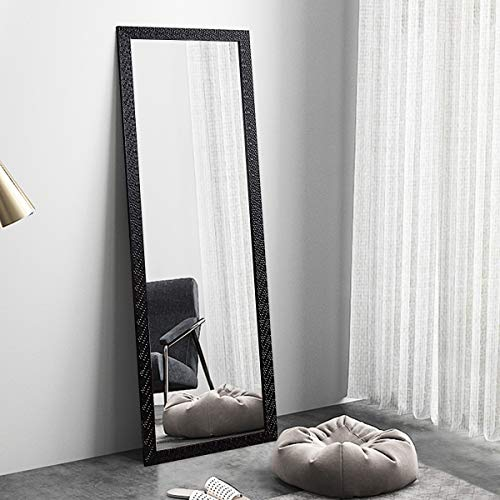 """OGCAU Fashion Full Length Mirror, Floor Mirror with Stand, Full Body Mirror, Large Mirror, Mosaic Style Wall-Mounted Mirror for Bedroom, Living Room, Dressing Room - Black 65"""" x22"""""""