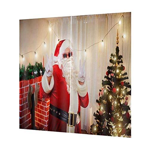Zihuist Cortinas de Navidad, Cortinas clásicas de Navidad Panel Corti