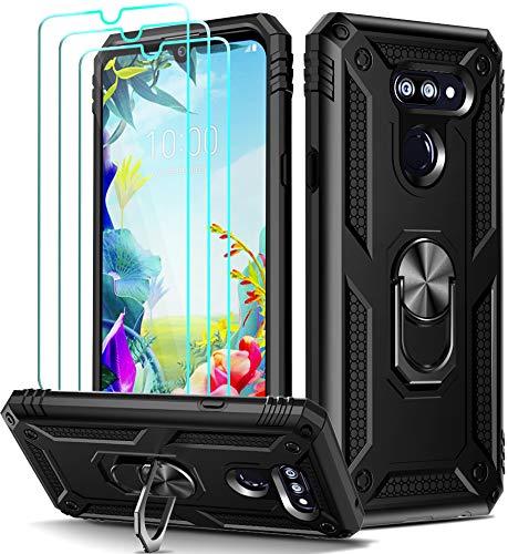 ivoler Funda para LG K40S 2019 + [Cristal Vidrio Templado Protector de Pantalla *3], Anti-Choque Carcasa con 360 Grados Anillo iman Soporte, Hard Silicona TPU Caso - Negro