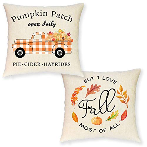 JYNHOOR Fall Pillow Covers 18x18 Inch –Set of 2 Buffalo Check Pumpkin Truck Pillow Covers for Fall Decor-Autumn/Harvest/Farmhouse Decorative Pillow Case for Couch