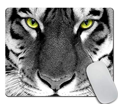 Amcove Animal Gaming Mouse Pad Custom, White Tiger with Green Eyes Watching You Mousepad Antique Decorate Mouse Pads 9.5 X 7.9 Inch (240mmX200mmX3mm)