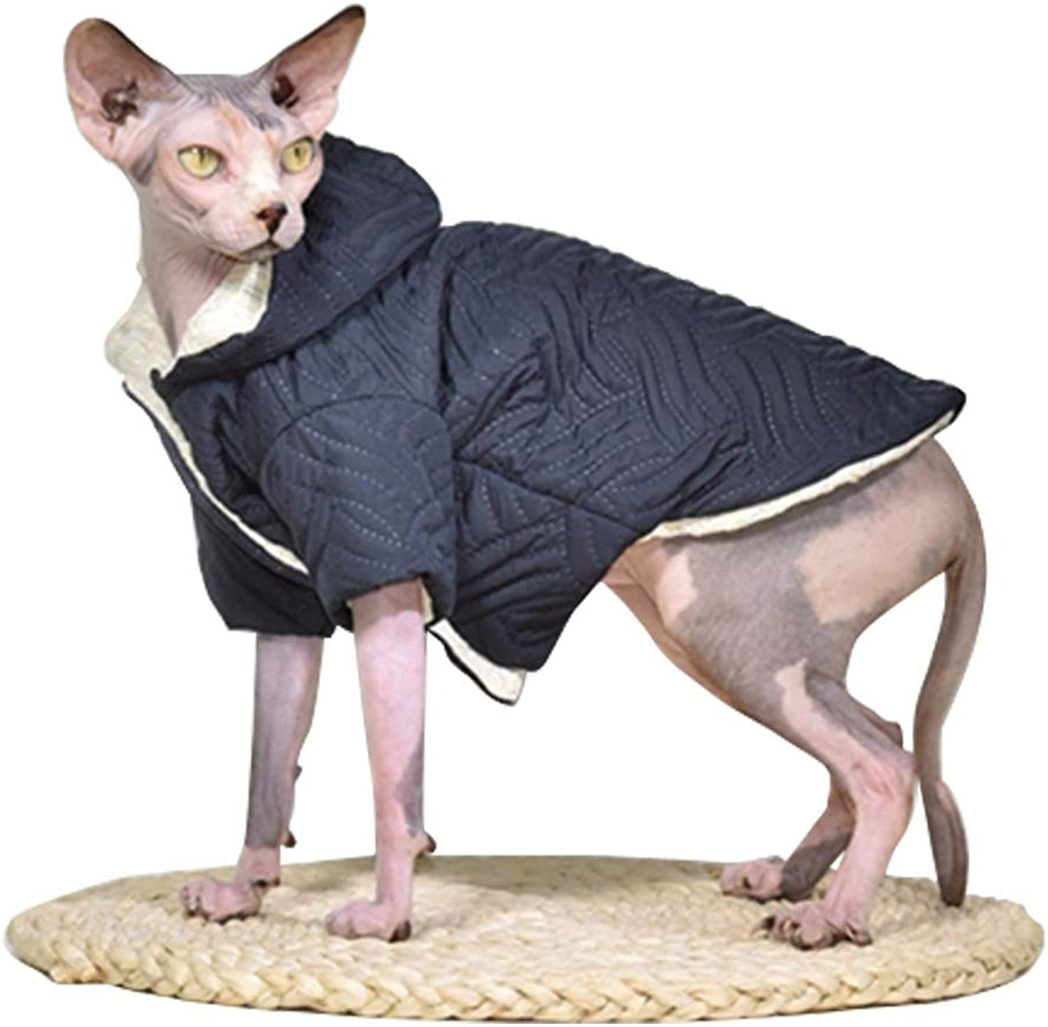 DENTRUN Hairless Cats Hooded Cotton Jacket Cat Coat Cat Designer Winter Warm Clothes, Coat Best Hairless Cat's Adorable Clothes Cat's Pajamas Jumpsuit Cat