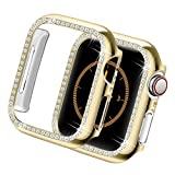 Yolovie Compatible for Apple Watch Case 38mm 40mm 42mm 44mm Bling Crystal Diamonds Rhinestone Bumper Cover for Women Girl, Hard PC Protective Frame for iWatch Series 6/5/4/3/2/1/SE - 40mm Gold