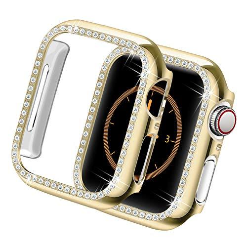 Yolovie Funda Carcasa Compatible para Apple Watch 38mm 42mm Series 3 2 1, Cubierta de la Cara Bling Crystal Diamonds Shiny Rhinestone para Bumper, Oro