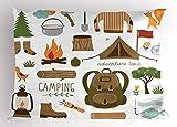 Ambesonne Adventure Pillow Sham, Camping Equipment Sleeping Bag Boots Campfire Shovel Hatchet Log Artwork Print, Decorative Standard King Size Printed Pillowcase, 36' X 20', White Khaki