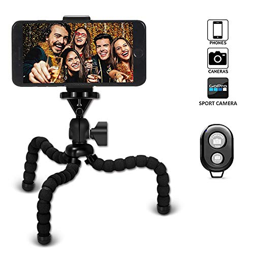 【VIUME】三脚 スマホ カメラ 自由雲台 自撮り ミニ三脚 Bluetooth リモコン付き どこでも固定できる 軽量 iPhone/Android/一眼レフ/デジカメ/ビデオ カメラ/プロジェクター ブラック(標準)