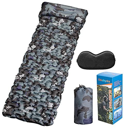 Etechydra Alfombrilla de camping con almohada, colchoneta de dormir inflable, ultraligera para dormir, autoinflables para mochileros, camping y senderismo