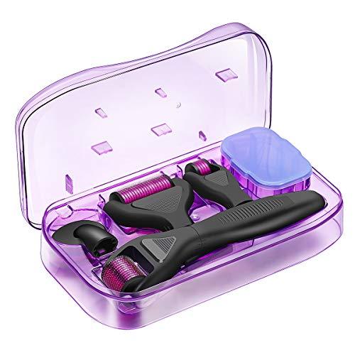 Dermaroller, Pixnor 0.5mm Microneedle Derma Roller für Gesichtspflege, 6 In 1 Derma Roller, 1.0/1.5mm aus Edelstahl Micronadeln für Anti Falten, Schwangerschaftsstreifen, Haarausfall und Anti Falten