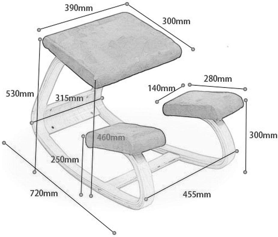 Chaise de loisirs de loisirs Chaise de yoga Chair Chaise agenouillée Chaise de bureau ergonomique St Tabouret de correction en bois avec coussins moelleux (Color : White) White