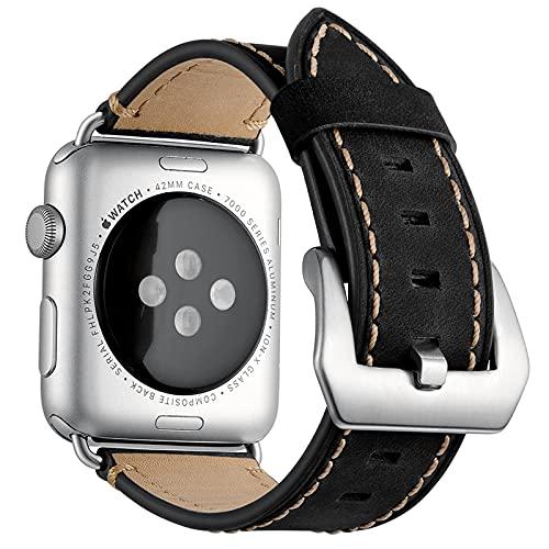 Bandas de reloj para Apple Watch Series 1/2/3/4/5/6/SE, compatible con iWatch Band 38 mm 40 cm/42 mm 44 mm, correa de cuero genuino para hombre, color negro, 42 mm/44 mm