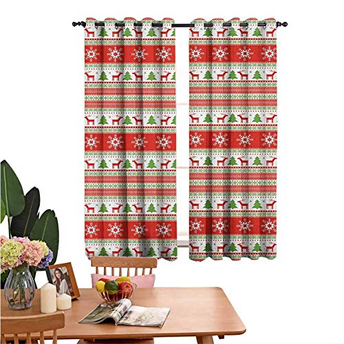 Blackout Curtains for Living Room- Bedroom Thermal Blackout Curtains Traditional Reindeer Xmas Tree Snowflake Border Knitted Seem Pattern Sleeping Environment Turns Black Set of 2 Panels W55'x L62'