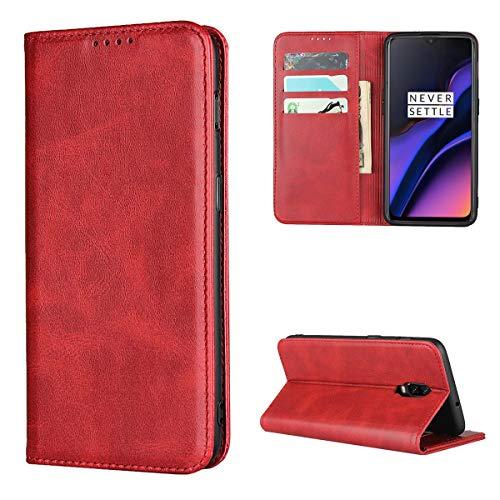 Copmob Coque Oneplus 6T,Premium Flip Portefeuille Étui en Cuir,[3 Fentes pour Cartes][Fonction de Support][Fermeture magnétique],Housse Etui pour Oneplus 6T - Rouge