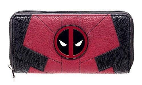 Marvel Comics Deadpool Juniors Suit Up Zip Around Wallet,Red & Black,One Size