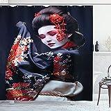 Lunarable Japan Shower Curtain, Young Geisha in Kimono with Sakura Traditional Oriental Costume Makeup, Cloth Fabric Bathroom Decor Set with Hooks, 75' Long, Black Cream