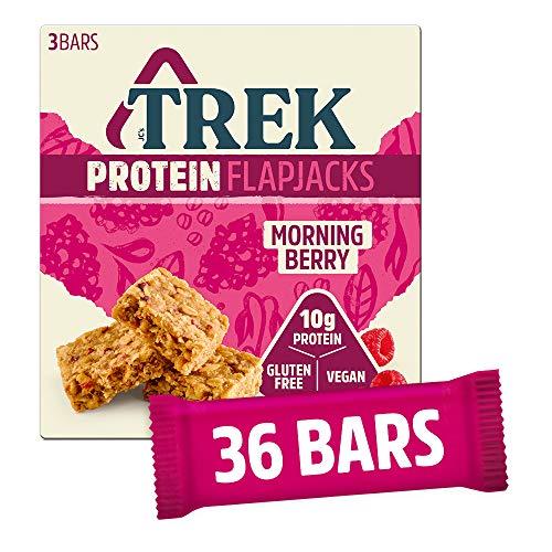 TREK High Protein Morning Berry Flapjack - Gluten Free Bars – Plant Based Protein - Vegan Bars, 50 g (Multipack case 36 Bars)