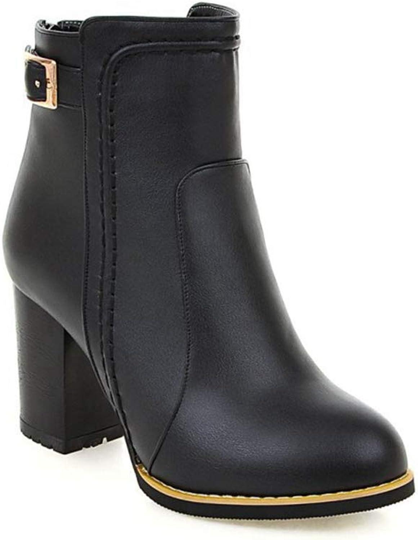Elegant springat Toe Toe Toe Ankle stövlar Buckle Side Zip Martin stövlar Chunky hög klack Winter skor  köp bäst