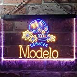 zusme Cerveza Modelo Skull Bar Novelty LED Neon Sign Blue + Yellow W16 x H12