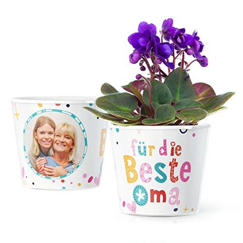 Facepot Oma Geschenk - Blumentopf (ø16cm) | Zum Geburtstag, Ostern oder Weihnachten mit Bilderrahmen für Zwei Fotos (10x15cm) - Für die Beste Oma