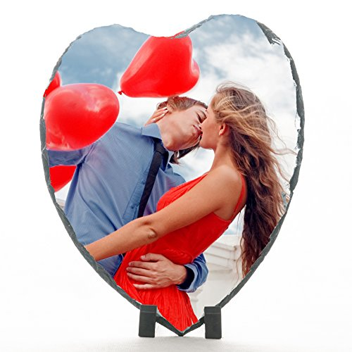Piedra pizarra corazón 24,5 x 20 cm, diseño de fotos, diseño del logo
