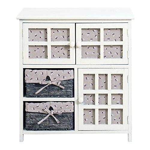 Rebecca Mobili RE4097 Multiuso Shabby, dressoir met 3 deuren en 2 laden, Paulownia en Vimini, 65 x 60 x 35 cm
