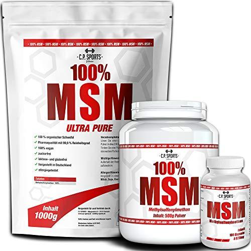 C.P. Sports 100% MSM poeder Powder, capsules 500 g, 1000 g, 5000 g methylsulsulfaat, zuiverheidsgraad 99,92%, zonder additieven, laboratoriumgetest, veganistisch, vervaardigd in Duitsland 2000g - Pulver