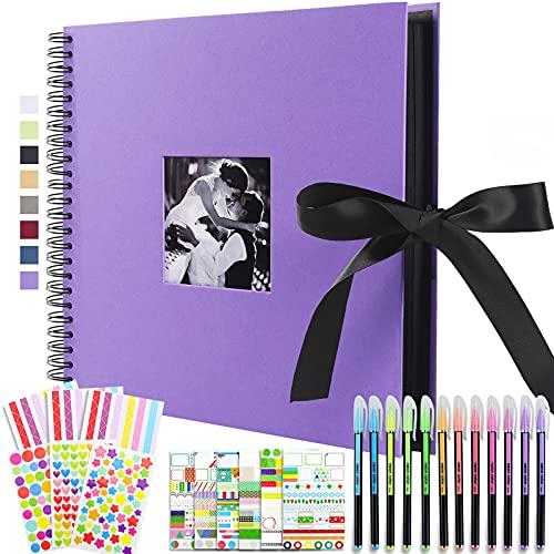 Vienrose Álbum de Fotos Scrapbook 10x15 para Pegar y Escribir 80 Negra...