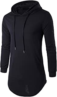 MISSMAO Men's Long Sleeve Hipster Hip Hop T-Shirt Asymmetric Pullover Longline Hoodie Sweatshirt