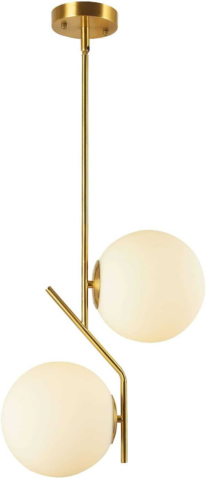 BAODEN 21 Lights Modern Globe Chandelier Mid Century Pendant Light with  White Globe Glass Lampshade Hanging Light Fixture for Dining Kitchen Island  ...