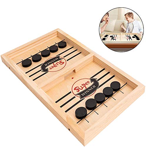 WELLXUNK Slingshot Ice Hockey Winner Brettspiel, Holzkatapult Brettspielzeug, Adult Childrens Game Toy (M)