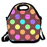 Qian Mu888 Lunchtasche mit Regenbogen-Punkten, isoliert, Reißverschluss, Kühltasche, tragbar, für...