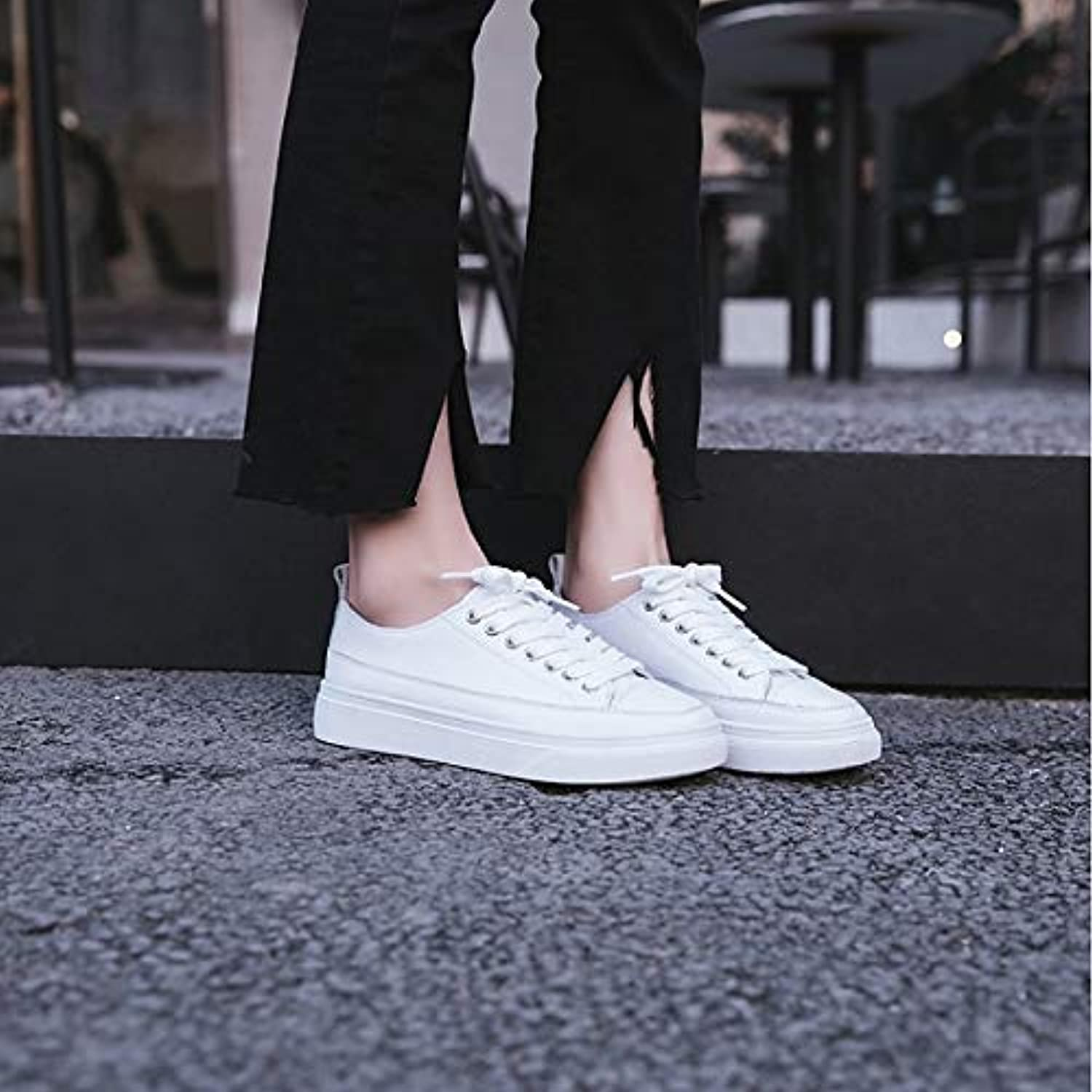 Women's shoes Leather Spring Comfort Sneakers Flat Heel White Almond