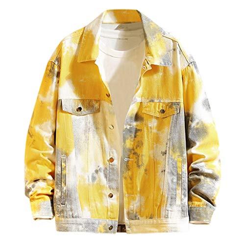 MAYOGO Herren Denim Jacke Camouflage Tie-dye Jeans Jacke Freizeitjacke College Jacke Trucker Jacke, Gelb,M
