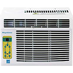 in budget affordable Keystone 5000 BTU window air conditioner, Follow Me LCD remote control, white