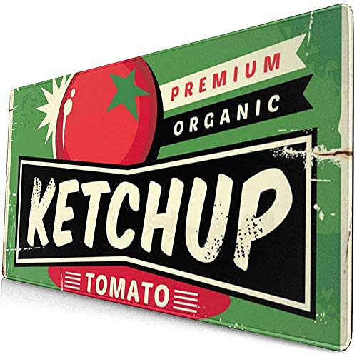 Ketchup Retro Sign Extended Gaming Mouse Pad, Dikke Grote Computer Toetsenbord Muismat