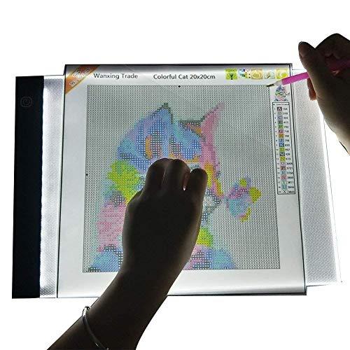 WanXing LED Pad pour Diamant Peinture A4 Boîte À Lumière de Strass Broderie USB LED Traçage pour Les Artistes Dessin Croquis Animation Concevoir Pochoir (Planche à Dessin LED)