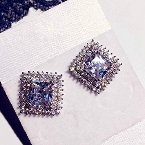 FEARRIN Pendientes de botón, Pendientes Colgantes Cuadrados de Cristal para Mujer, Pendientes con dijes, joyería, Regalo, Mujeres